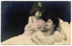 Antique postcard mom and daughter