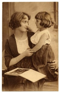 Antique Postcard Mother & Daughter