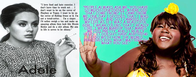 adele and gabby sidibe with quotes about confidence and beauty