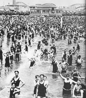 coney island swimmers 1920's crowded beach
