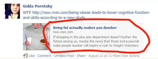 being fat makes you dumber from facebook preview with circle