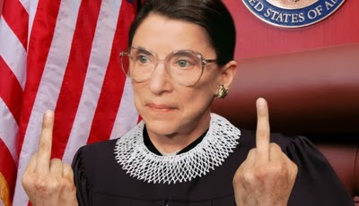 Ruth Bader Ginsberg with middle finger up